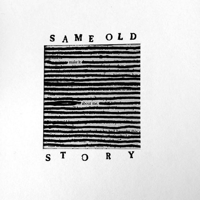 Stuart Kestenbaum. Same old Story. Found black text blacked out with marker and hand stamped text, 10 x 13 cm (4 x 5 in). © the artists.