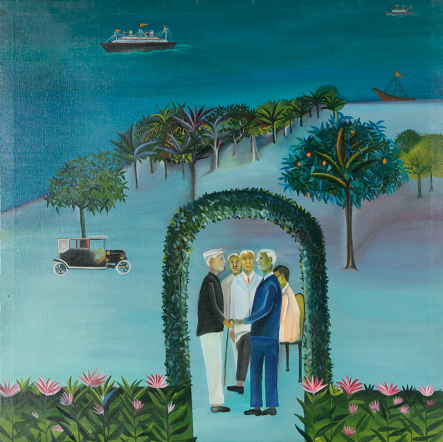 Bhupen Khakhar. Man Leaving (Going Abroad), 1970. Courtesy of Tapi Collection, India. © Estate of Bhupen Khakhar.