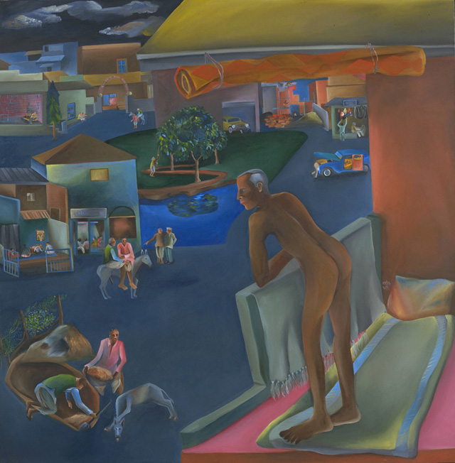 Bhupen Khakhar. You Can't Please All, 1981. Oil paint on canvas, 175.6 x 175.6 cm. Tate © Bhupen Khakhar.
