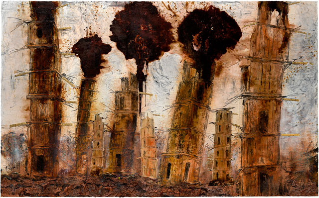 Anselm Kiefer. Böse Blumen, 2016. Oil, acrylic, emulsion, shellac and clay on canvas, 185 1/16 x 299 3/16 in (470 x 760 cm) (six panels). © Anselm Kiefer. Photograph © White Cube (Charles Duprat).