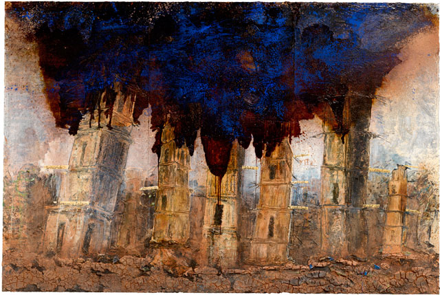 Anselm Kiefer. Walhalla, 2016. Oil, acrylic, emulsion, shellac and clay on canvas, three panels, each: 149 5/8 x 74 13/16 in (380 x 190 cm). Overall dimensions: 149 5/8 x 224 7/16 in (380 x 570 cm). © Anselm Kiefer. Photograph © White Cube (Charles Duprat).