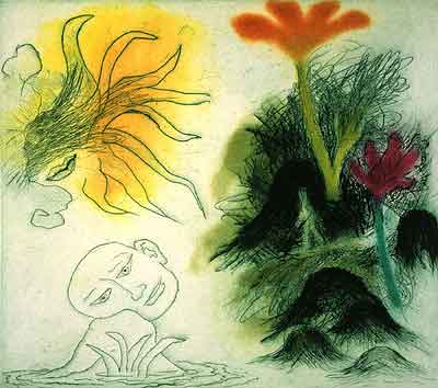 Ken Kiff. Walking Past Rocks and Flowers, 1996. Drypoint and aquatint, 31.0 x 35.0 cm. Edition of 35.