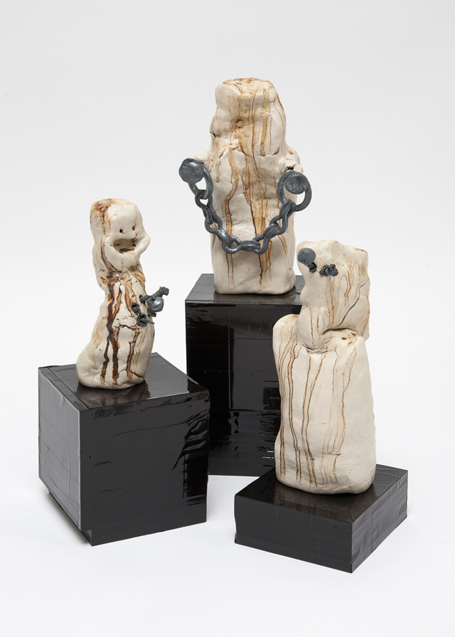 Heidi Kilpelainen. Family (Ceramic, Iron, CDs and Tape), 2014. Photograph: Vicki Churchill.