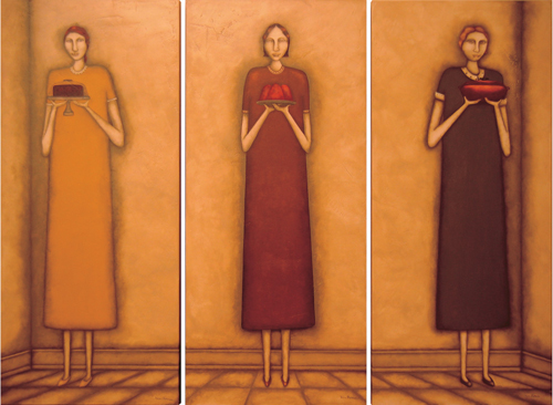 Kim Thomas. <em>Potluck Ladies: Dessert, Congealed Salad, Casserole</em>. 24 x 54 each (3 individuals in the triptych). Acrylic.