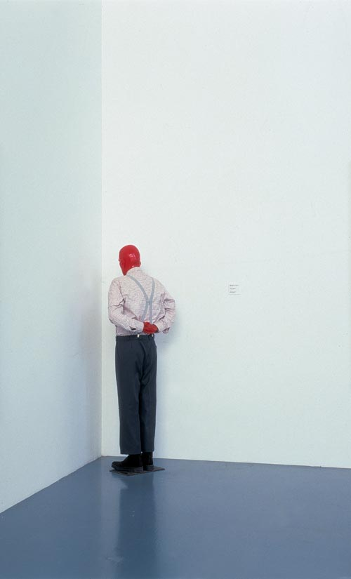 Martin Kippenberger. <em>Martin, into the Corner, You Should Be Ashamed of Yourself</em> (Martin, ab in die Ecke und schäm Dich) 1989. Cast resin, pigment, metal, Styrofoam, foam plastic, clothing, 180 x 76 x 30 cm. Collection of Daros Contemporary, Zurich Estate Martin Kippenberger, Galerie Gisela Capitain, Cologne.