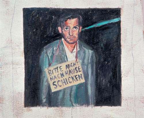 Martin Kippenberger. <em>Please Don't Send Me Home</em> (Bitte nicht nach Hause schicken) 1083. Oil on canvas, 120 x 100 cm. Private Collection (c) Estate Martin Kippenberger 