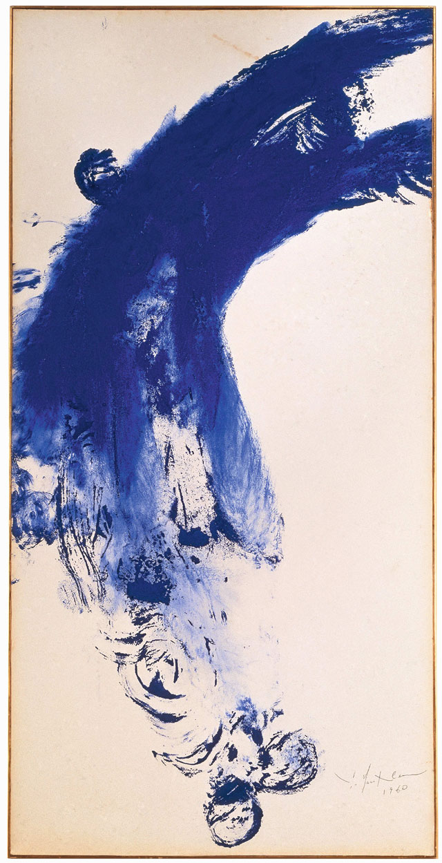 Yves Klein. Untitled Anthropometry (ANT 52), 1960. Dry pigment and synthetic resin on paper mounted on canvas, 159.5 x 78.5 cm. © Yves Klein, ADAGP, Paris/DACS, London, 2017.