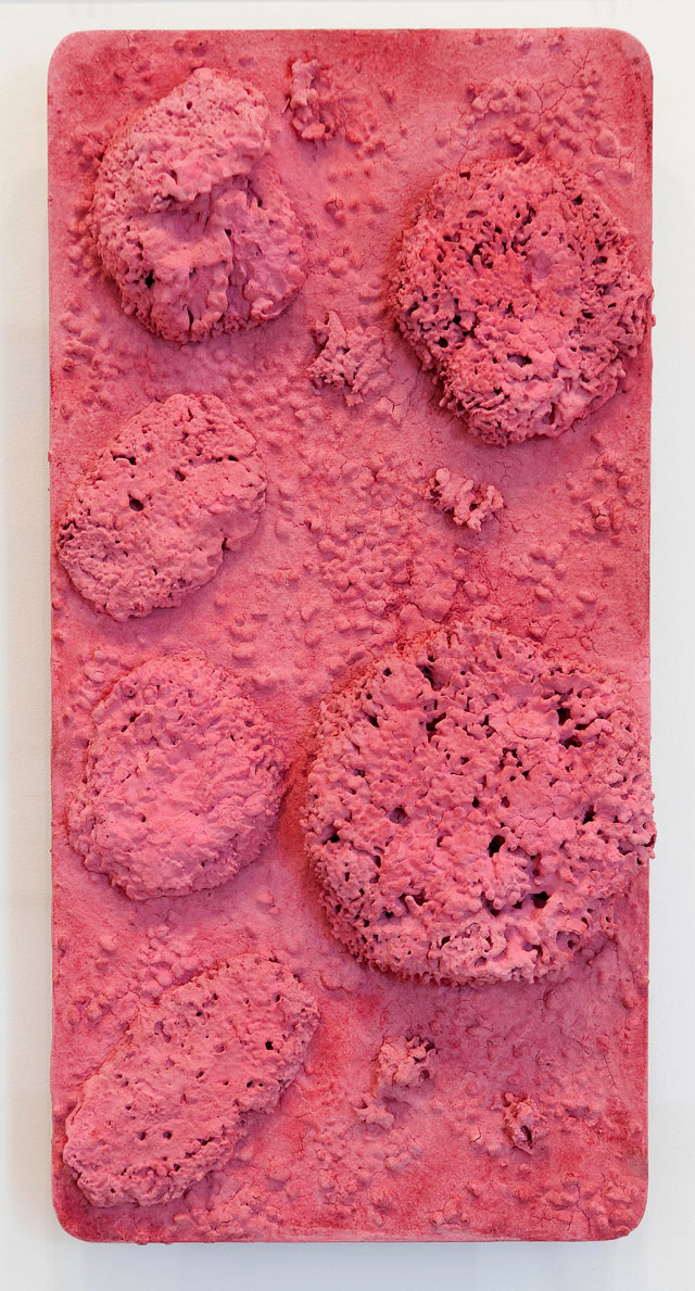 Yves Klein. Untitled Pink Sponge-relief (RE 44), c1960. Dry pigment and synthetic resin, pebbles, natural sponges on panel, 65 x 32 cm. © Yves Klein, ADAGP, Paris/DACS, London, 2017. Carré d'Art-Musée d'art contemporain de Nîmes. Photograph: David Huguenin.