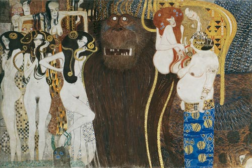 Gustav Klimt. <em>The Beethoven Frieze (detail),</em> 1901&ndash;02 (copy 1984). Belvedere, Vienna