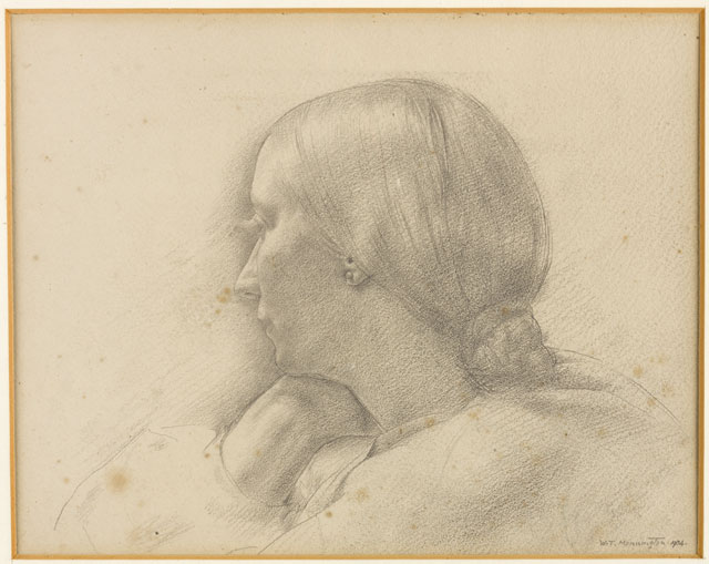 Thomas Monnington. Portrait of Winifred Knights, 1934. Pencil on paper, 23.8 x 30 cm. Collection of Catherine Monnington. © The Artist's Estate.