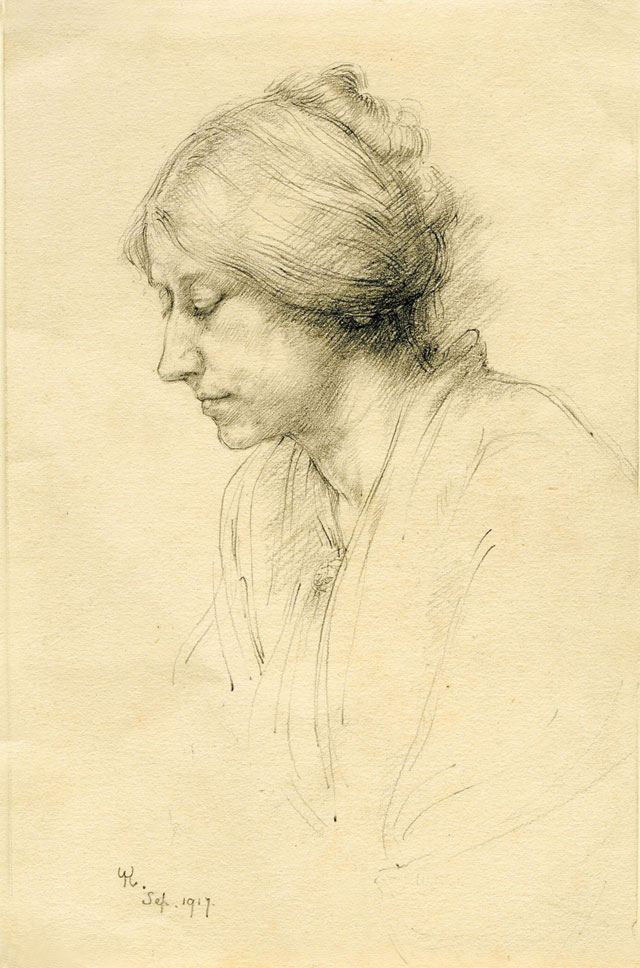 Winifred Knights. Portrait of Millicent Murby, September 1917. Pencil on paper, 16.5 x 11 cm. Collection of Martin Palmer. © The Estate of Winifred Knights.