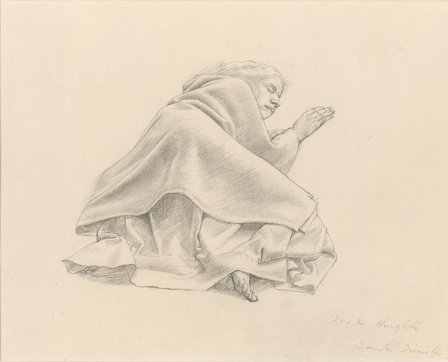 Winifred Knights. Study of a sleeping woman for The Santissima Trinita, c1924. Pencil on paper, 19.7 x 25.7 cm © Trustees of the British Museum. © The Estate of Winifred Knights.