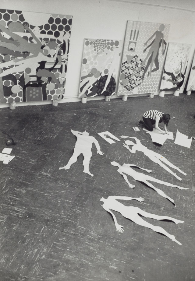 Kiki Kogelnik in her studio, New York, 1965. Courtesy of Kiki Kogelnik Foundation. Image courtesy of Kiki Kogelnik Foundation and König Galerie.