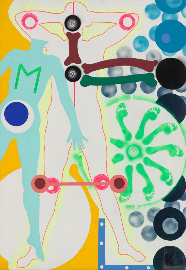 Kiki Kogelnik. M, c1964. Oil and acrylic on canvas, 203 x 142.7 cm (80 x 56 1/4 in). Image courtesy of Kiki Kogelnik Foundation and König Galerie.