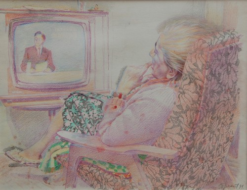 Erik Bulatov. Woman Watching Vremya, 1981. Coloured pencil on paper. 13-3/4 x 17-1/2 in. Courtesy of the Kolodzei Art Foundation.