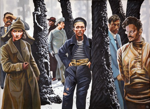 Valery Yershov. Trail of Revolutionaries, from the series Lost Wanderings, 2009. Acrylic on canvas, 42 x 58 in. Courtesy of the Kolodzei Art Foundation.