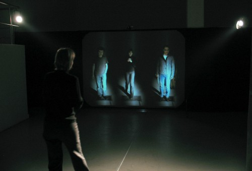 Alexandra Dementieva. Mirror's Memory, 2003. Interactive installation, 300 x 400 cm retro projection screen, Camera DV, Mac G4, Video Projection. Courtesy of the Kolodzei Art Foundation.