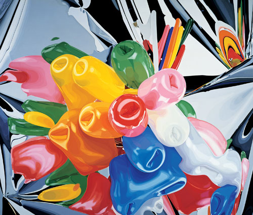 Jeff Koons. Tulips, 1995 – 98. Oil on canvas, 111 3⁄8 x 131 in (282.9 x 332.7cm). Private collection. © Jeff Koons.