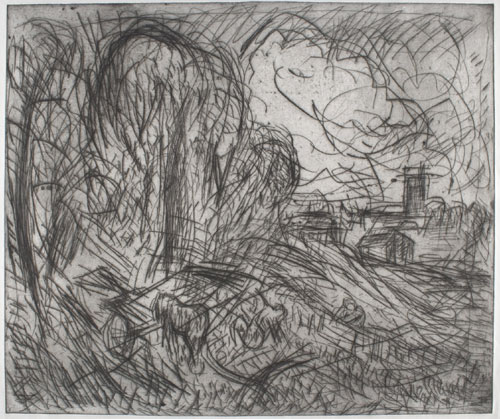 Leon Kossoff. <em>From Constable: Stoke-by-Nayland (plate 1). </em>Private collection &copy; Leon Kossoff