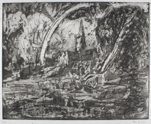Leon Kossoff. <em>From Constable: Salisbury Cathedral from the Meadows (plate 3). </em>Private collection © Leon Kossoff