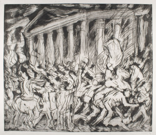 Leon Kossoff. <em>From Poussin: The Destruction and the Sack of the Temple of Jerusalem </em>Private Collection © Leon Kossoff