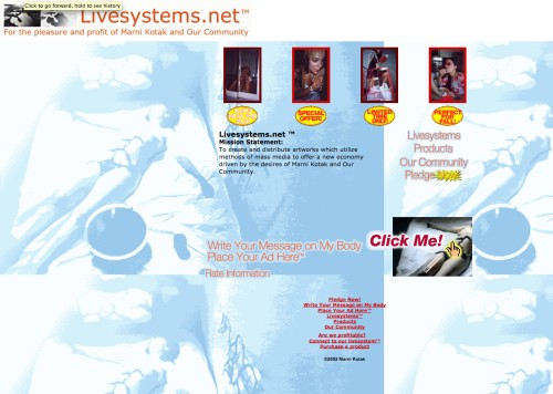 Marni Kotak. Livesystems.net. (Web-based artwork, 1999-ongoing. Screenshot from 2002. © 2002, Marni Kotak. Image courtesy of the artist.