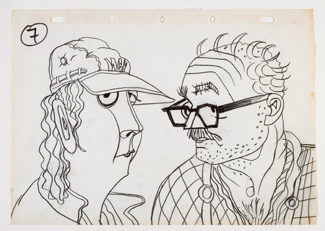 György Kovásznai. Talking Heads - drawing for the animated documentary Reportrait, 1982. Oil on canvas, 25 x 37 cm. Photograph: Kovásznai Research Workshop.