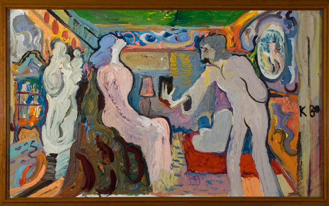 György Kovásznai. Wedding scene for the film Bubble Bath, 1980. Oil on canvas, 70 x 100 cm. Photograph: Kovásznai Research Workshop.