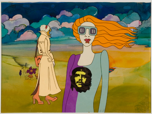 György Kovásznai. Girl with Che - cell for the animated TV series This is just Fashion, 1975. Celluloid, paint, 26 x 34 cm. Photograph: Kovásznai Research Workshop.