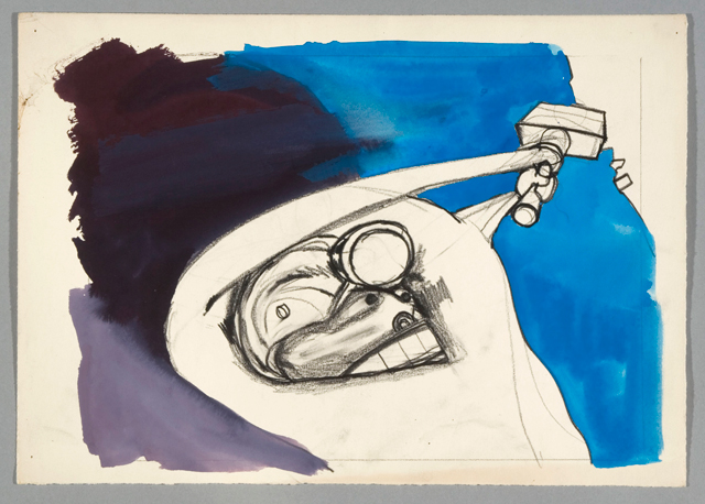 György Kovásznai. Miner - drawing for the animated documentary Joy of Light, 1965. Paper, graphite, paint, 22 x 31 cm. Photograph: Kovásznai Research Workshop.