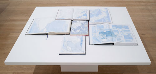 Tania Kovats. Only Blue, 2013. 40 obsolete atlases, gesso, dimensions variable. Courtesy the artist. Photograph: Ruth Clark.