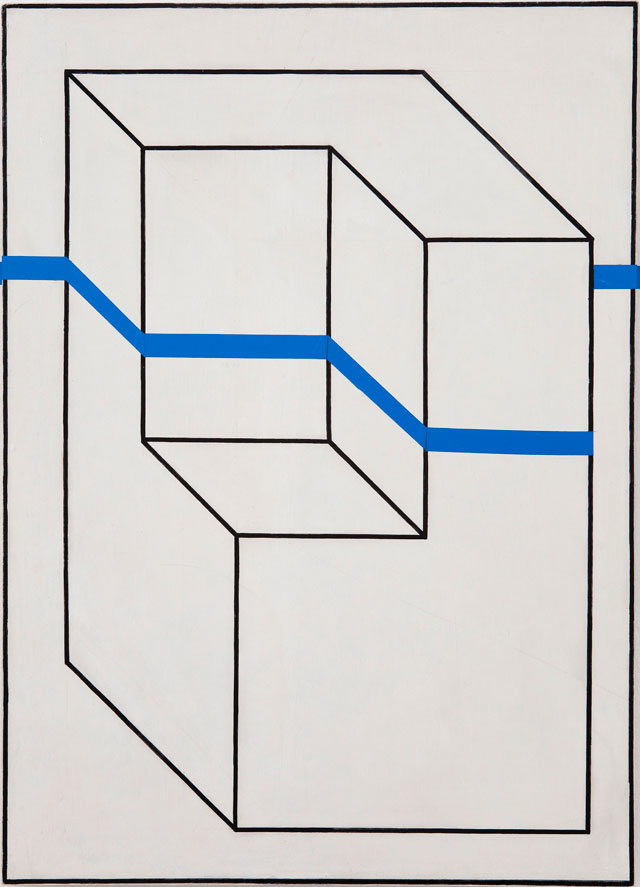 Edward Krasinski. Intervention 3, 1975. Acrylic paint and adhesive tape on hardboard, 70 x 50 x 4 cm. © Grażyna Kulczyk Collection.