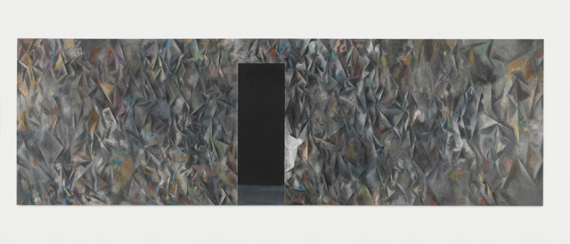 Guillermo Kuitca. Untitled (Exodus), 2015. Oil on canvas, 200 x 630 cm (78 3/4 x 248 in). Image © Guillermo Kuitca. Courtesy the artist and Hauser & Wirth. Photograph: Alex Delfanne.