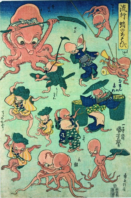 Utagawa Kuniyoshi, <em>Octopus Games</em>, 1840&ndash;42. Colour woodblock print, 14 1/2 x 9 5/8 in. American Friends of The British Museum (The Arthur R. Miller Collection) 21402. Photo &copy; Trustees of The British Museum.