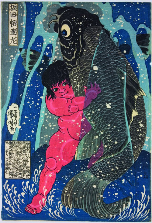 Utagawa Kuniyoshi, <em>Sakata Kaidomaru Wrestles with a Giant Carp</em>, <em>c</em>. 1837. Colour woodblock print, 15 x 10 1/4 in. American Friends of The British Museum (The Arthur R. Miller Collection) 21215. Photo &copy; Trustees of The British Museum.