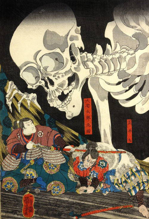 Utagawa Kuniyoshi, <em>Mitsukuni Defies a Skeleton Spectre</em>, 1845&ndash;46. Colour woodblock print, 14 5/6 x 29 7/8 in. The British Museum, JA 1915.8-23.0915, 0916. Photo &copy; Trustees of The British Museum.