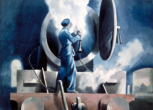 Cliff Rowe, Woman Cleaning a Locomotive in St Pancras Cleaning Yard, 1942. Watercolour with white on board, 23 x 32 cm. National Railway Museum, York. © Anna Sandra Thornberry, daughter.