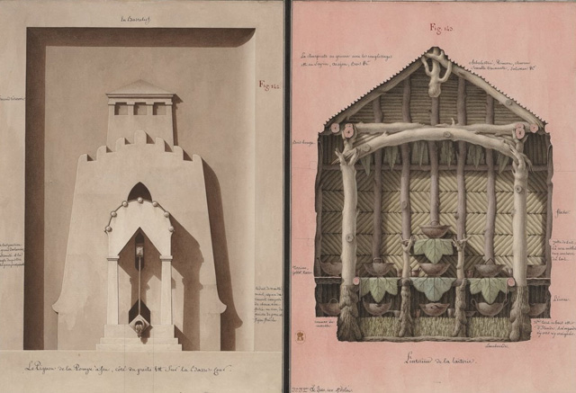 Jean-Jacques Lequeu. Facade of Fire Pump and the Interior of the Dairy, undated. Image: Department of Prints and Photography, BnF.