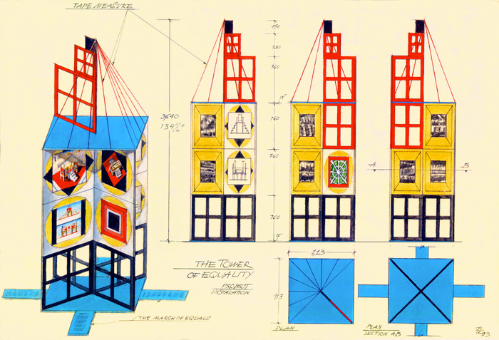 Leonid Lamm. Tower of Equality, 1993. Graphite, watercolour, and ink on paper, 27.9 x 40.6 cm. On loan from Innessa Levkova-Lamm and Olga Lamm.