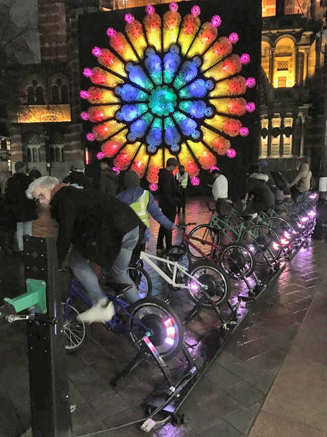 Mick Stephenson with Electric Pedals: The Rose. Lumiere London 2018. Photograph: Veronica Simpson.
