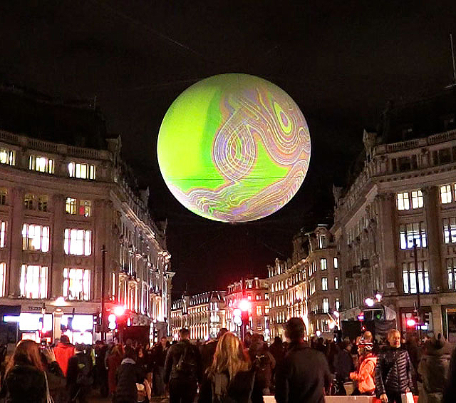 Miguel Chevalier. Origin of the World Bubble 2018. Installation view, Oxford Circus, Lumiere London 2018. Photograph: Martin Kennedy.