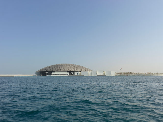 Louvre Abu Dhabi, Exterior view © Louvre Abu Dhabi. Photograph: Roland Halbe.