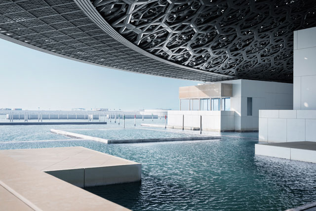 Louvre Abu Dhabi. View overlooking the sea. © Louvre Abu Dhabi, Photograph: Mohamed Somji.