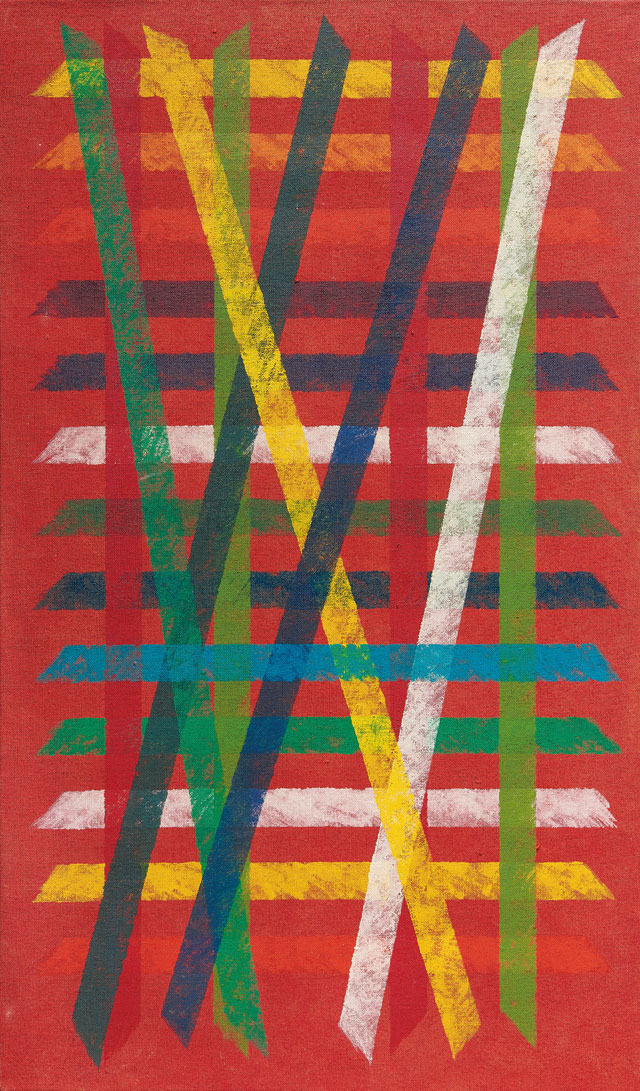 Piero Dorazio (1927-2005). Untitled, 1965. Oil on jute canvas, 146 x 86 cm. Courtesy Mazzoleni.