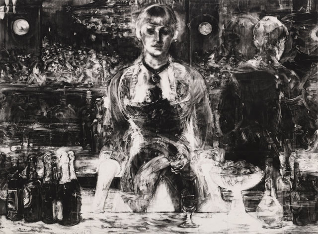 Robert Longo. Untitled (X-Ray of A Bar at the Folies-Bergère, 1882 after Manet), 2017. Charcoal on mounted paper, 243.8 x 330.8 cm. Courtesy Galerie Thaddaeus Ropac London · Paris · Salzburg. Photograph: Artist Studio.