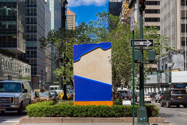 Lluís Lleó. Morpho's Nest in the Cadmium House. Five fresco-like paintings on sandstone, installation view, Park Avenue malls in New York, 2017. Photograph: Corrado Serra.