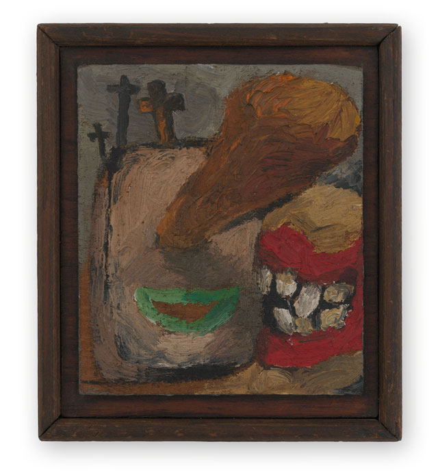 Lee Lozano. No title, c1962. Oil on wood, 8.3 x 7 cm. © The Estate of Lee Lozano. Courtesy the Estate and Hauser & Wirth.