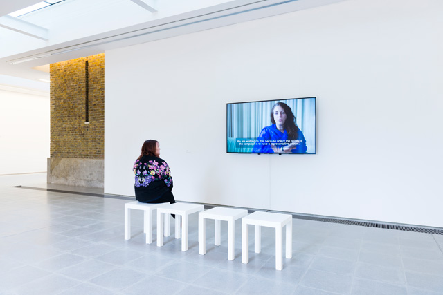 Tania Bruguera. Transforma tus ideas en acciones cívica / Transform your ideas into civic actions, 2017. Installation view, Serpentine Sackler Gallery, London (1 March 2017 – 21 May 2017). Photograph © Mike Din.