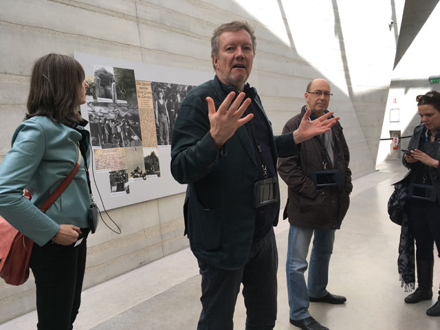 Kjetil Thorsen, co-founder of Snohetta, in the central hallway. Photograph: Veronica Simpson.