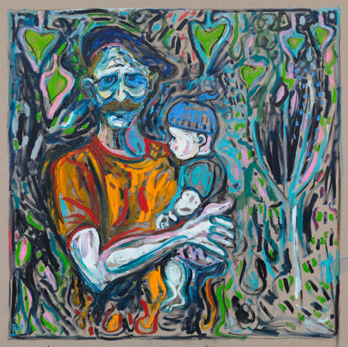 Billy Childish. <em>Father and Daughter</em>, 2010. Oil and charcoal on linen, 152.5 x 152.5 cm (approx 5 x 5 ft).